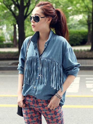 Street Fashion Tassel Single Breasted Long Sleeve Denim Jacket