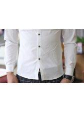 2013 Men Solid Color Lapel Long Sleeve Cotton Shirt