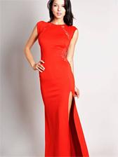 Women Fashion Lace Splice Cap Sleeve Maxi Dress