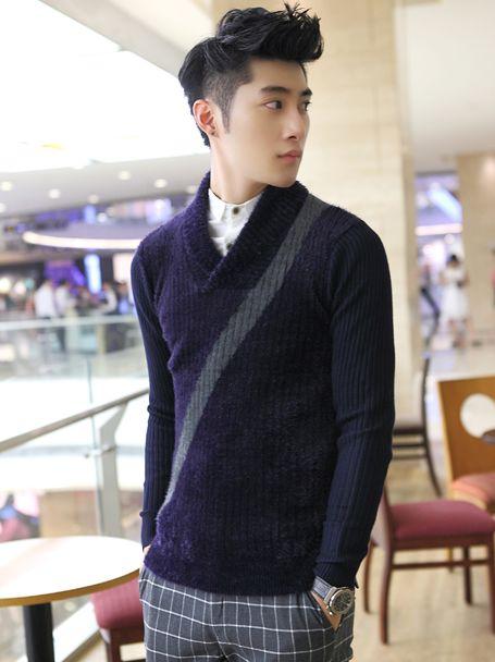 Korean Winter Trim Collar Buttons Casual Sweater
