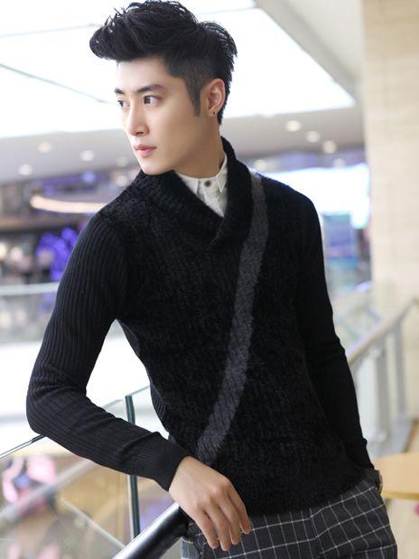 Brand New Trim Collar Buttons Black Sweater