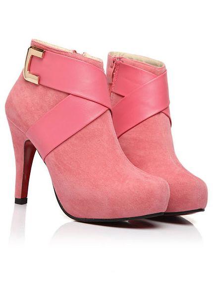Fashion Trend Zipper Round Toe Platform Stiletto Suede Boots