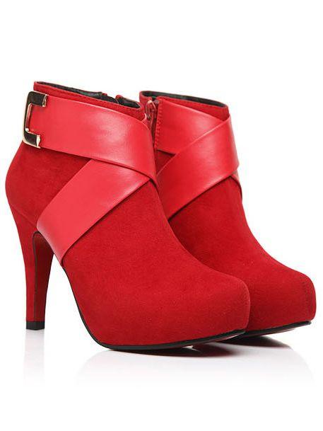 Latest Design Zipper Patchwork Round Toe High Heels Short Boots