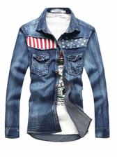 Men Fashion American Flag Long Sleeve Denim Shirt
