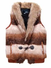 New Trendy Men Color Block Plush Vest Coat