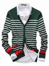 New Modern Men V-neck Striped Sweater Coat
