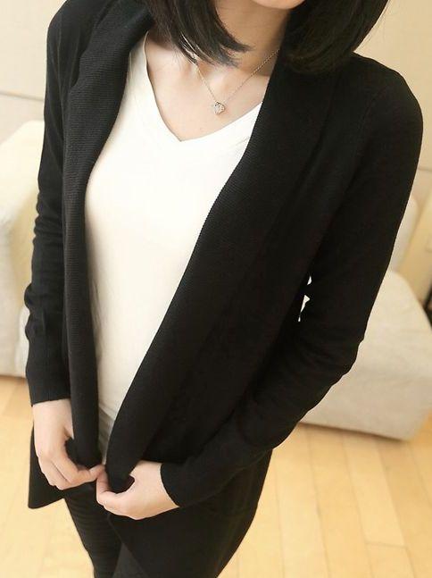 Korean Style No Button Pure Color Lapel Slim Cardigan