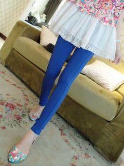 Newest Design Solid Color Natural Waist Long Leggings
