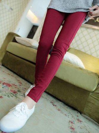 Korean Fashion Solid Color Skinny Pencil Long Pants
