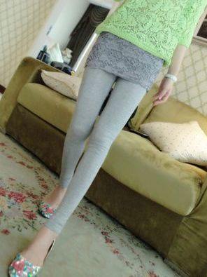 Fall Fashion Hook Flower Solid Color Skinny Culottes Leggings