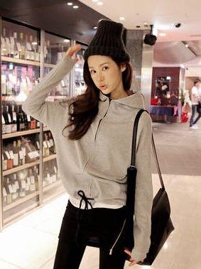2013 Korean Autumn Zipper Cotton Gray Hoodies