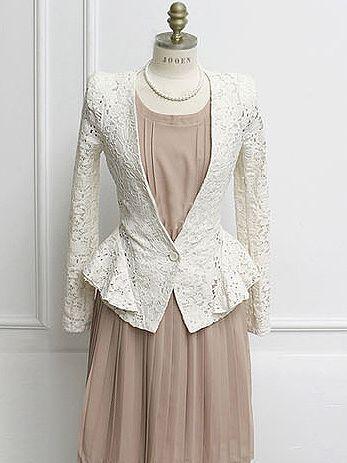 2013 Autumn One Button  Long Sleeve Lace Suit