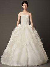 Ball-Gown Sexy Back Strapless Straight Across Floor Length Train Wedding Dress