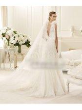 Mermaid Style Deep V Neck Floor Length Train Wedding Dress