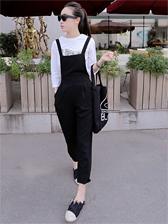 Korean Style Natural Waist Black Overall Long Pants