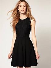 New Trendy Natural Waist Lace Splice Tank Dress