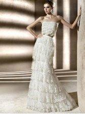 Sheath Strapless Straight Across Floor Length Train Lace Layered Wedding Dress