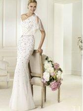 Mermaid One Shoulder Sweep/ Brush  Train  Wedding Dress With Crystal Beadwork