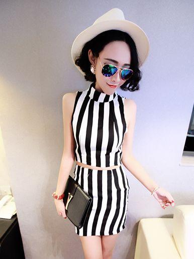 Korean Striped Sleeveless POLO Collar T-shirt Short Skirt Two-pieces