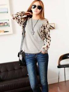 Korean Autumn Lace Sleeve Slim Fit T-shirt