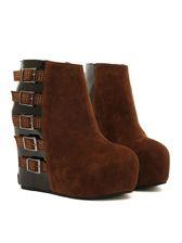Latest Style Buckle Wedge High Heel Boots
