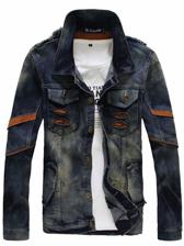 Retro Style Men Buttons up Inset Patch Denim Jacket