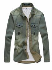 Men Stylish Buttons up Long Sleeve Denim Shirt