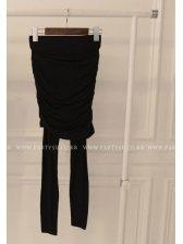 New Arrival  Autumn Fake Two Piece Pleated Cotton Black Leggings