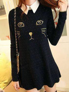 Fall Fashion Cat Embroidery Long Sleeve Lapel Dress