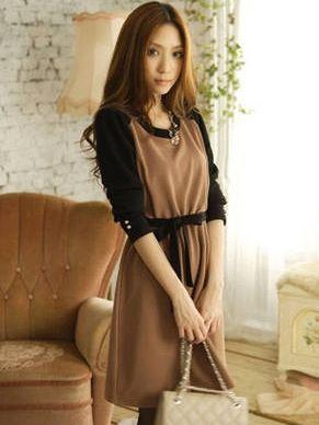 Elegant Color Block Long Sleeve Natural Waist Khaki Dress