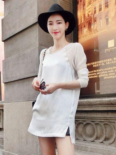Autumn Round Collar Silk Chiffon Long Sleeve Blouse