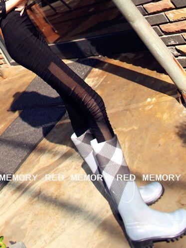 Modern Korean Gauze Patch Black Leggings