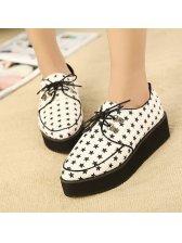 Stylish Lace Up Stars Pattern Sharp Toe Platform Shoes