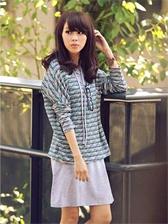 Women Fashion Stripes Blouse&Hooded Dress Two-piece Set