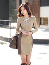 New OL Fashion Empire Waist Long Sleeve Dress