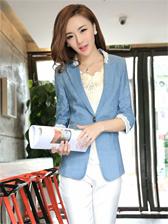 New OL Style Trim Collar Three-quarter Sleeve Suit Coat