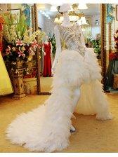 Sexy Round Neck Cathedral Train Asymmetrical Wedding Dress With Beadwork