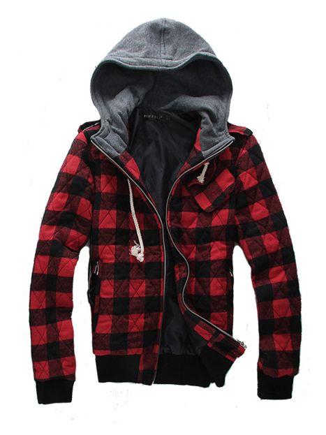 Fall  Men Plaid Pattern Long Sleeve Coat