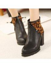 New Zipper Round Toe Leopard Patchwork Boots