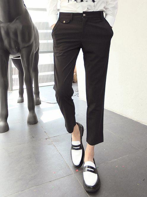 New UK Style Men Low Waist Cotton Long Pants