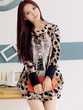 Latest Design Leopard Girls Pattern Round Neck Long T-Shirts