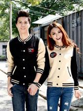 New Arrival Baseball Uniform Style Single-Breasted Long Sleeve Couple Jackets
