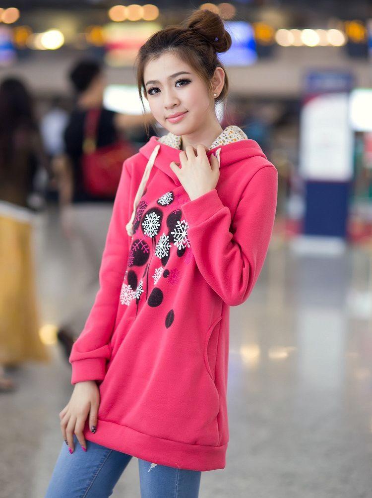 Fall Fashion Flower Printing Pocket Hooded Long Hoodies