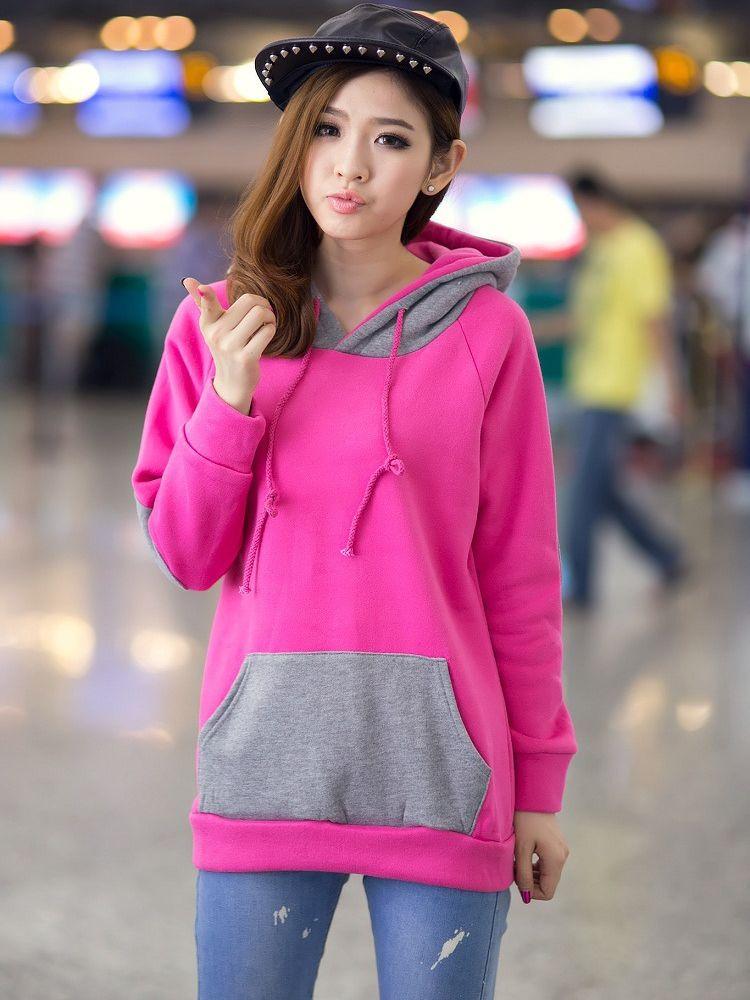 Street Fashion Patchwork Color Block Kanga Pocket Hooded Long Hoodies