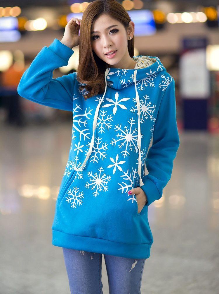 Lady Fashion Snow Flower Printing Pocket Hooded Long Hoodies