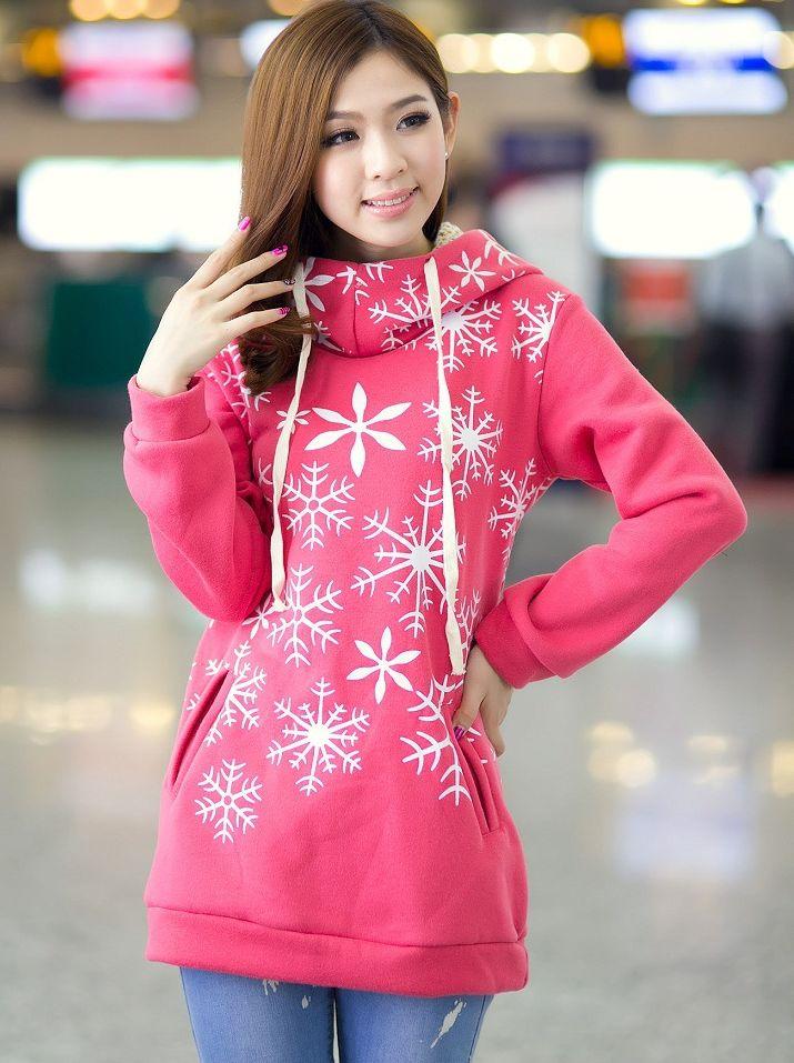 Fall Fashion Snow Flower Printing Pocket Hooded Long Hoodies