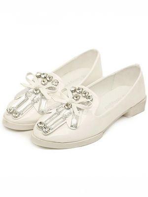 Stylish European Punk Style Diamond Pearl Bowknot White Flat