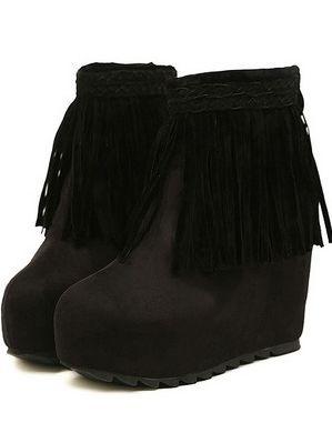 Fall Winter Elegant Tasseled Sueded Back Zipper Ankle Boots