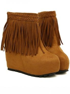 Romantic Korean Style Tassel Design Sueded Back Zipper Wedge Ankle Boots
