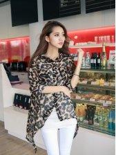 New Arrival Leopard Priting Asymmetrical Half Sleeve Blouse